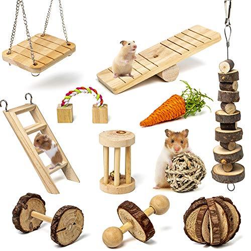 Labeol Hamster Kauspielzeug 11 Stück Natürliches Kiefernholz aus Holz Übung Glockenrolle Zahnpflege...