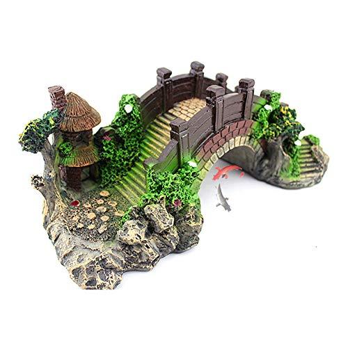 Aquarium Deko Höhle Aquarium, das dekorative Brücke landschaftlich gestaltet Baumstamm Holz Polyresin...
