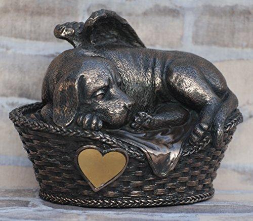 Unbekannt Hunde Urne bronziert als Hunde-Engelfigur und Gravurplatte, Tierurne