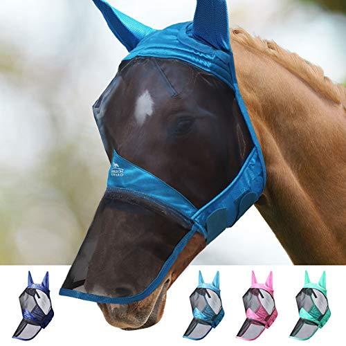 Harrison Howard CareMaster Pro Luminous Fliegenmaske Lange Nase mit Ohren UV-Schutz für Pferde-Blaugrün...