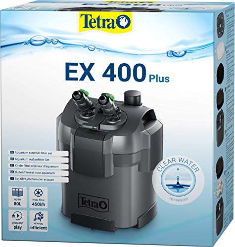 Tetra Aquarium Außenfilter EX 400 Plus - leistungsstarker Filter für Aquarien bis 80 L, schafft...