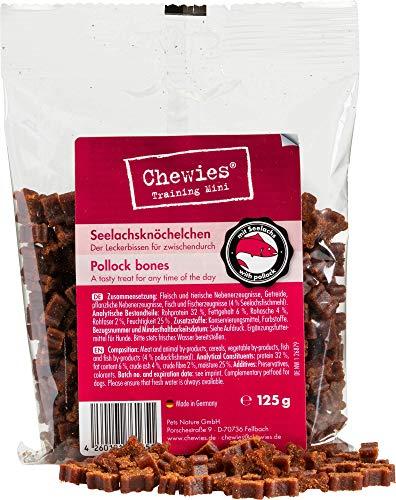 Chewies Hundeleckerli Lachs Knöchelchen MINI - 125 g - Trainingsleckerli für Hunde - Fleisch Softies...