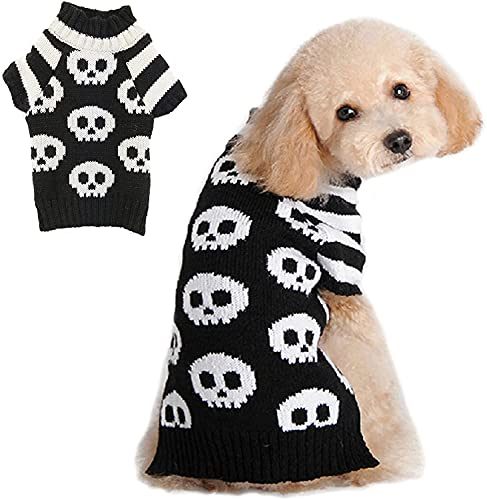 Abrrlo Halloween Hund Pullover Dog Sweater Schädel Streifen Hundepullover warme weiche Haustier Kostüm...