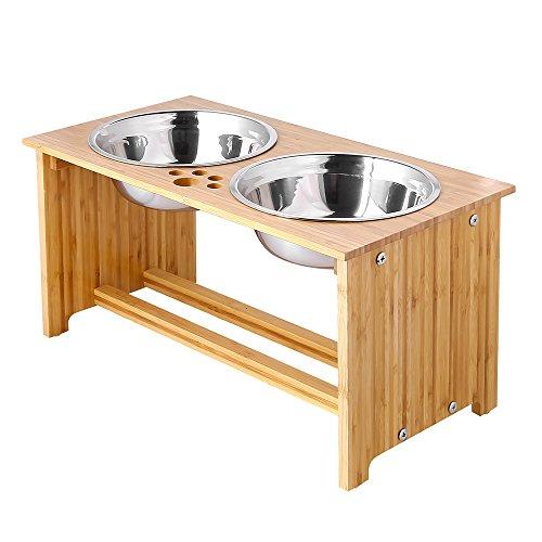 FOREYY erhöhte Hundeschüsseln für Katzen und Hunde, 2 Schüsseln aus Edelstahl, mit Bambus-Halter und...