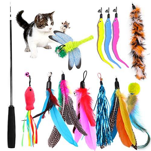 TOPSEAS Katzenspielzeug Feder,13 Stück Katzenspielzeug Katze Toys,Federspielzeug Katze,Einziehbare Katze...
