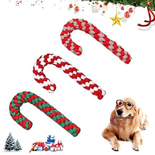 Sunshine smile Hundespielzeug Seil,Hunde Kauspielzeug,Weihnachts-Zuckerstangen-Seil, Hundeseilspielzeug,...