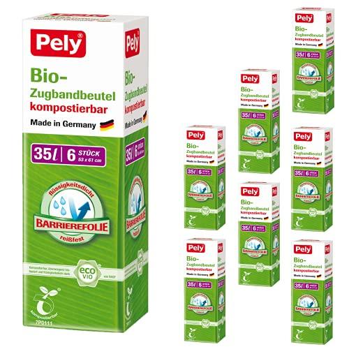 Pely Bio Müllbeutel zur Entsorgung für kompostbierbare Abfälle, 35 Liter, 8 Packungen a 6 Beutel im...