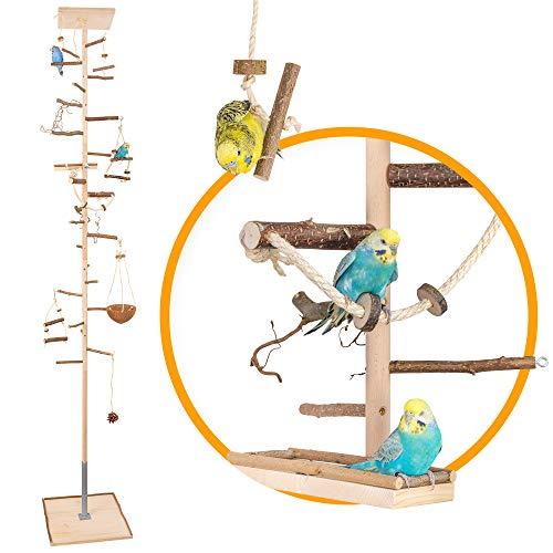 Zimmerhoher Vogel-Kletterbaum 247-249 cm HiFly Medio mit Naturholz-Sitzstangen, Vogel-Spielzeug,...