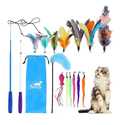 Toozey Feder Teaser Spielzeug, Katzen Spielzeug mit 2 STK versenkbare interaktive Katzen Teaser Rods und...