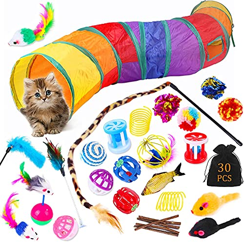 Katzenspielzeug,Katzen Spielzeug,30 Stück Katzenspielzeug Set,mit Katzentunnel, Bälle, Federspielzeug,...