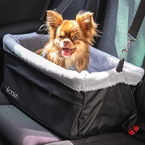 Vicera Hunde Autositz für Beifahrersitz & Rückbank, Stabiler Hundesitz für kleine Hunde & Katzen fürs...