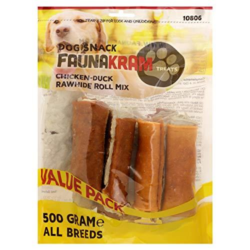 Faunakram Kausnack mit dreifachem Geschmack für Hunde: Kaurollen Rohleder mit Hühnchen und Rohleder mit...