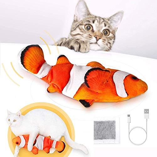 Peteast Katzenspielzeug, Bewegungs Elektro Realistische Wiggle Fisch Catnip Spielzeug, Plüsch...