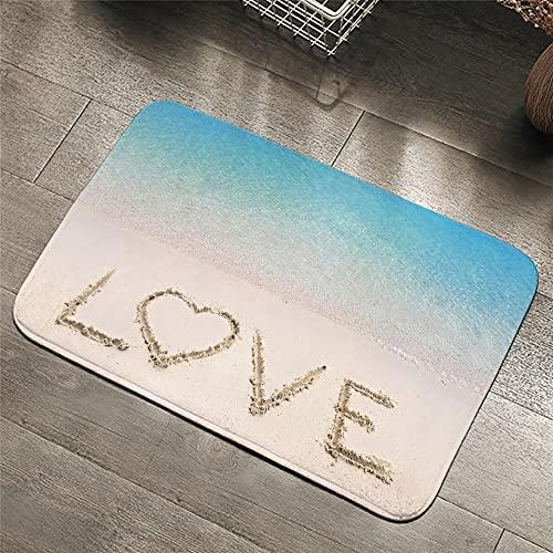 OPLJ Sunset Teppich 3D-Druck Strand Rutschfester weicher Teppich Naturmatte am Meer absorbierende...