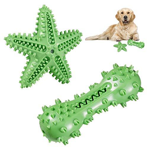 KIKIPAW Hundezahnbürste Kauspielzeug - Quietschende Knochenform Hund Zahnreinigung Spielzeug Langlebig...