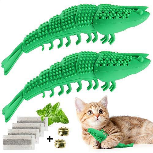 EKKONG Katzen Zahnbürste, Katze Fischform Zahnreinigung Spielzeug, Katzen Silikon Molar-Stick Zahnpflege...
