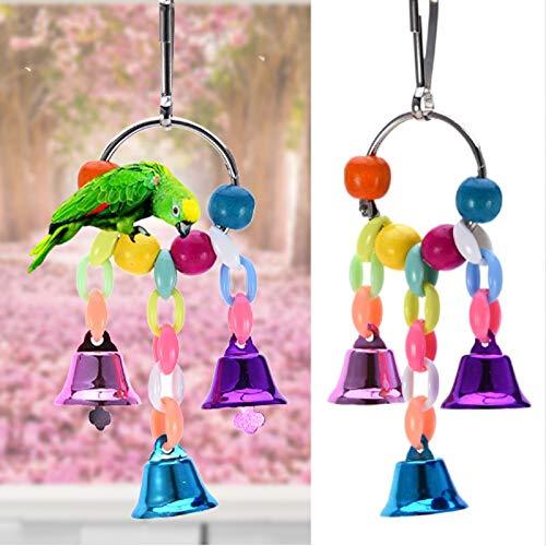 LZWNB Bunte Perlen Glocken Papageien Spielzeug Vogelzubehör für Haustier Spielzeug Schaukel Stand...