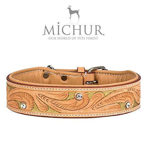 MICHUR GoldenEye Hundehalsband Leder, Lederhalsband Hund, Halsband, Leder, BEIGE, Caramel, Braun, Gold,...