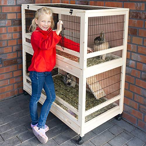 zooprinz edler Hasenstall – aus massivem Holz ideal fürs Haus oder die Garage – mit Zwei Schubladen...
