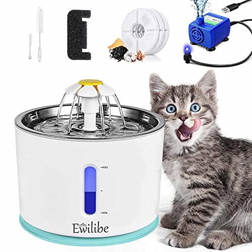 Ewilibe Trinkbrunnen Katzen Wasserbrunnen Katzenbrunnen Wasserspender Hunde Katzentrinkbrunnen 2.4L Pet...