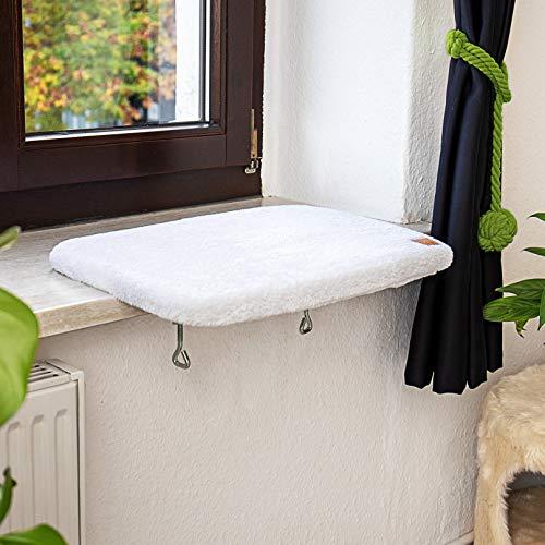 Pfotenolymp® Premium Fensterbrett/Liegebrett für Katzen am Fenster – Fensterliegeplatz/Katzenliege...