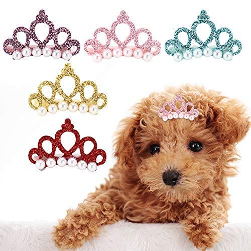 25pcs Hund Haarspangen Crown Form Pet Haarnadel Perlen Pet Princess Clips Nette Katze Haarspangen Bögen...