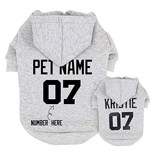 Didog Hunde-Kapuzenpullover, mit Namen und Nummer, Kleidung mit Namen für Welpen, Pudel, Yorkie, kleine...