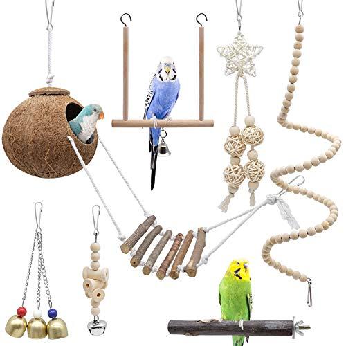 Yue Vogel Papagei Spielzeuge 7 Stück, Kokosnuss Vögel Käfig mit Leiter, Hängend Schwingen Klettern...