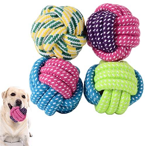LAMTWEK Hundeball, 4Stück-Robuster Hunde Ball, Interaktiver Hundespielzeug Ball, Hergestellt aus...