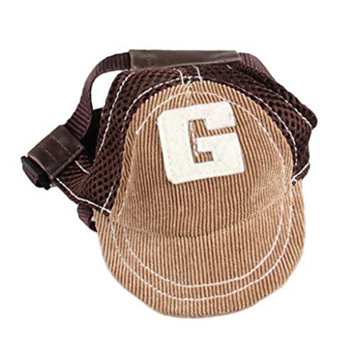 PETSOLA Hund Baseballmütze Sonnenhut Baseball Cap Mütze Kappe für kleine und große Hunde - Kaffee, L