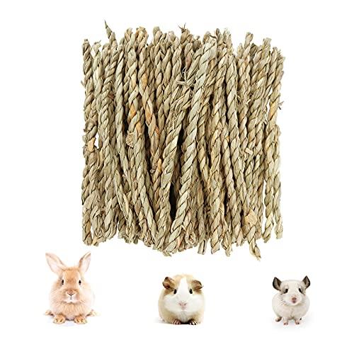 80 Stück Kleintiere Kauspielzeug, Natürliches Seegras Stick Kaninchen Zahnschleif Spielzeug, Heu Stick...