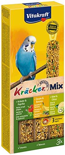 Vitakraft - 21237 - Kräcker Trio-Mix(Sesam-Banana/ Kräuter-Paprika/Kiwi-Zitrone) Sittiche, 90 g