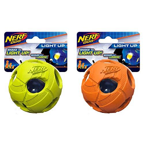 Nerf Dog Medium LED Bash Ball Hundespielzeug Tricks grün & orange (2Stück)