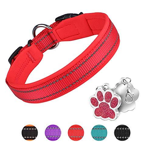 Hundehalsband Verstellbare Weich Gepolstertes Neopren Nylon Hunde Halsband Reflektierend Halsband...