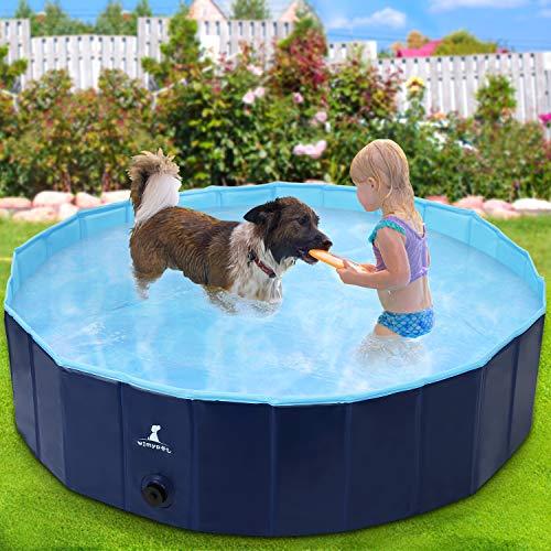 Wimypet Hundepool Schwimmbad für Hunde, Hundeplanschbecken Hundebad, Klappbares Haustier Duschbecken mit...