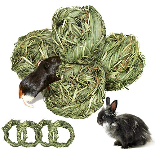 8 Stück Kaninchen Spielzeug, Meerschweinchen Kauspielzeug Grasball aus Natürlichen Timothy Heu...