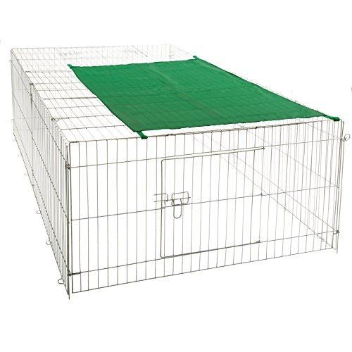 ESTEXO Nager Freilaufgehege aus Stahl Hasen Auslauf Freigehege Kaninchen Nager Sonnenschutz (XXL)