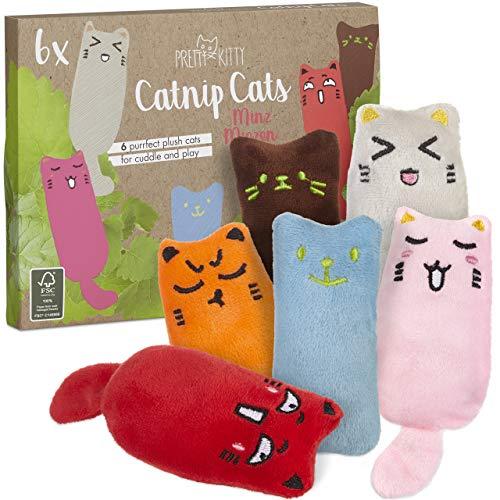 PRETTY KITTY 6X Minz Miezen - Räumungsverkauf (wenig Katzenminze): Katzenspielzeug Set aus Katzenkissen...