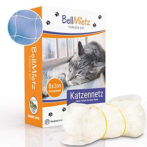 BellMietz® Katzennetz für Balkon & Fenster (durchsichtig) | Extragroßes 8x3m Katzenschutz-Netz ohne...