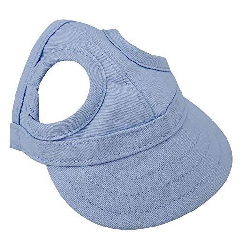 Fditt Baseballkappe für Hunde und Katzen, verstellbar, gestreift, (Blue M)