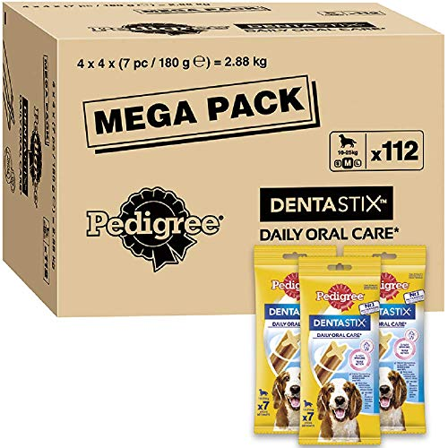 Pedigree DentaStix Daily Oral Care Zahnpflegesnack für mittelgroße Hunde – Hundeleckerli mit Huhn- &...