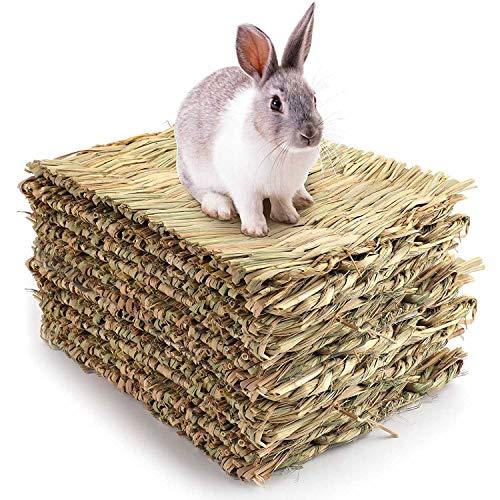 Varadyle 10 Stück gewebte Bettmatten für Kaninchen, Grasmatte und Kaninchen-Betten, Nest-natürliches...