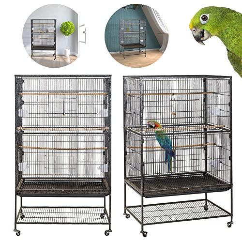 LARS360 Schwarz Papageienkäfig aus Metall Vogelvoliere Vogelkäfig Vogelhaus Käfig Voliere Vogel...