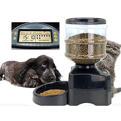 RaxinBang-Feeder. Schwarz Haustier Katze Hund Futterautomat 5.5L Beschreibbare Große Kapazität...
