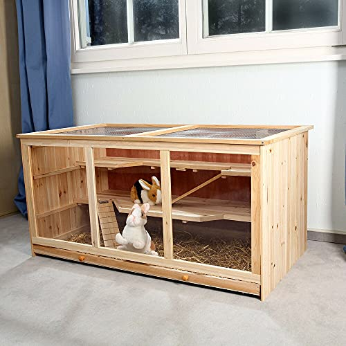 HUIJK Kleintierkäfig Nagerkäfig Hamsterkäfig Mäusekäfig Villa Käfig Rattenkäfig Holz