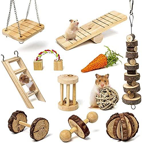 KNMY Hamster Kauspielzeug, Hamsterzubehör, Holzkauspielzeug für die Zahnpflege, 11 Stück natürliches...