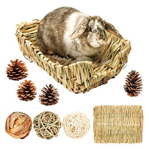 Geflochtenes Grasbett/Kaninchen Bett, Heu Matte für kleine Tiere, mit 3 Stück Kaubälle natürliches...