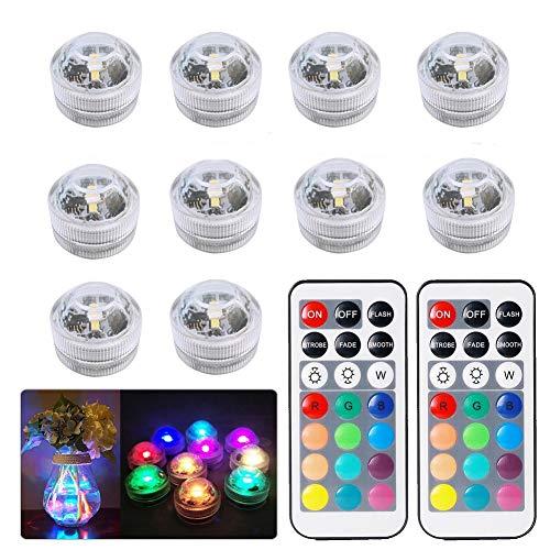 10pcs Unterwasser-LED-Lichter,Mehrfarbig wasserdichte Unterwasser-Lichter SMD 3528 RGB-Stimmungs-Lichter...