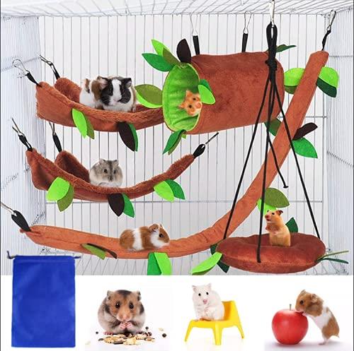 5 Stück Hamsterkäfig Meerschweinchen Käfig Zubehör, Frettchen Käfig Spielzeug Hängematte, Hamster...