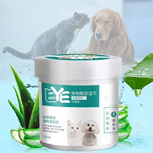 XUANXUAN Pet Eye Wipes, Pet Ohrenschmalz/Tränenfleckentferner-Tücher, Natural Plant Wet Cotton Pet...
